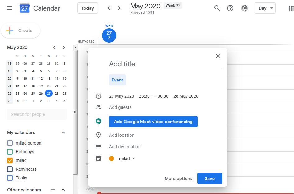 ساختن حساب کاربری گوگل کلندر