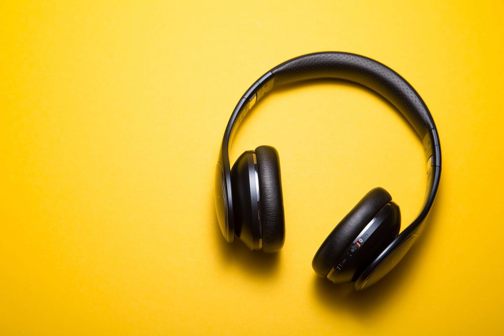 a headphone on yellow color background