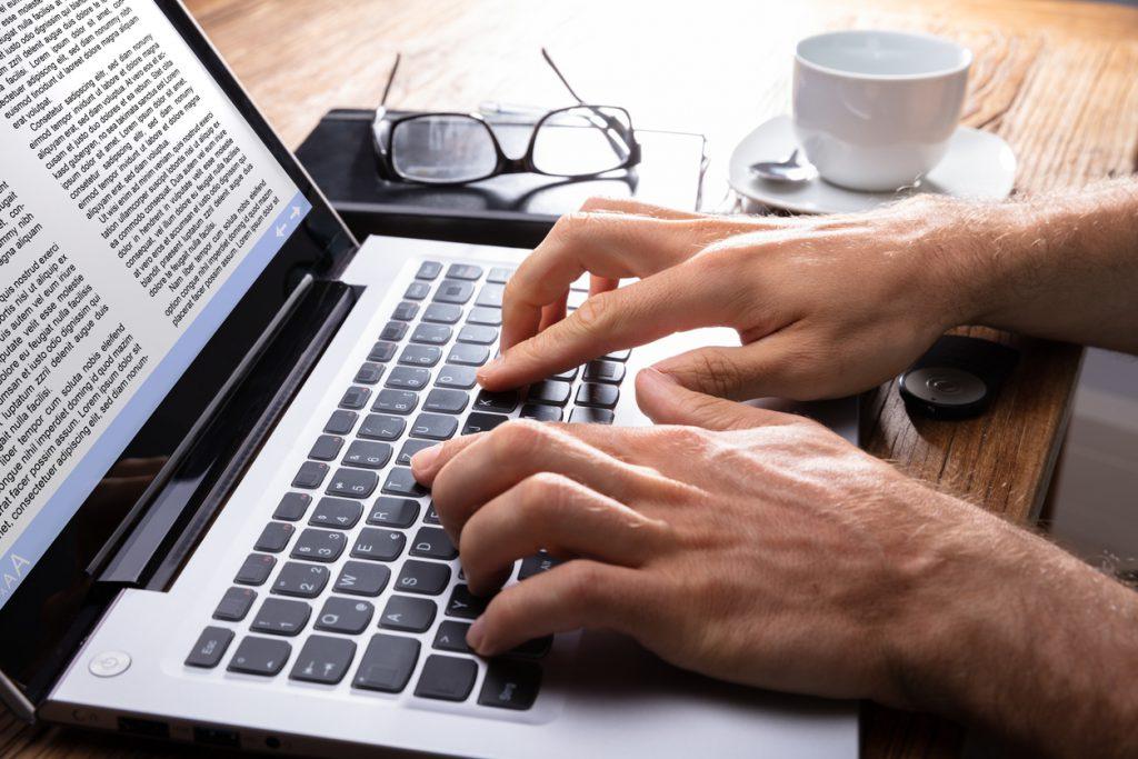 a man typing