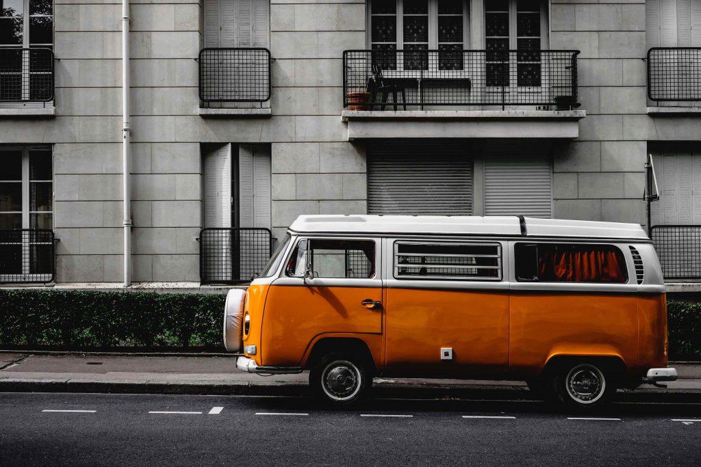 a car with orange color